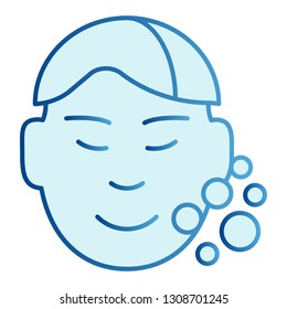 Clear man face flat icon. Skin care blue icons in trendy flat style. Open pores gradient style design, designed for web and app. Eps 10