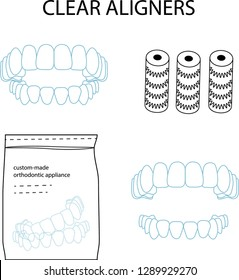 Clear orthodontic aligners vector