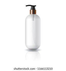Clear oval round cosmetic bottle with black spray head for beauty product packaging. Isolated on white background with reflection shadow. Ready to use for package design. Vector illustration.