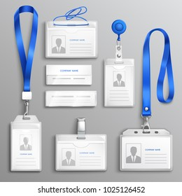 Clear plastic badges id cards holders collection with blue neck lanyards and retractable reel clip realistic vector illustration