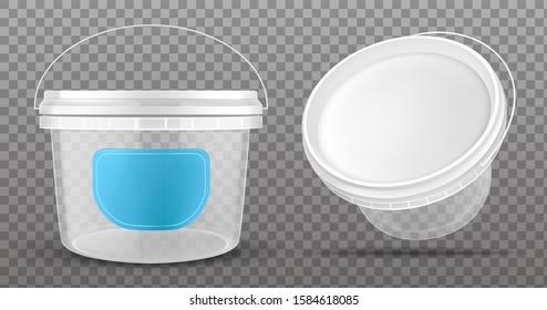Clear plastic bucket with blue label and white lid isolated on transparent background.Vector mockup of realistic 3d empty container for food, sauce, ice cream front and top view