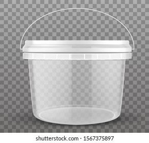Clear plastic bucket closed by lid isolated on transparent background. Vector mockup of realistic 3d empty container for food, fresh products, ice cream