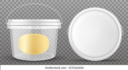 Clear plastic bucket with yellow label and white lid front and top view. Vector mockup of realistic 3d empty container for food, sauce, ice cream isolated on transparent background