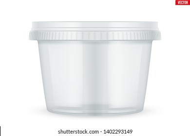 Clear Plastic container for food. Circle Realistic Blank of Food delivery and foodstuff. Vector Illustration isolated on white background.
