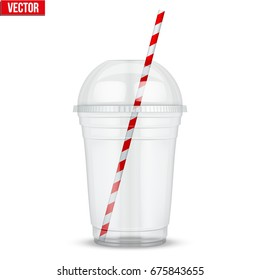 Clear plastic cup with sphere dome cap and cocktail tube. For milkshake and lemonade and smoothie. Vector Illustration isolated on white background.