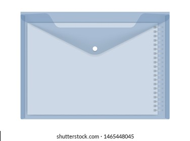 Clear plastic envelope with A4 spiral notebook inside, vector illustration. Transparent blue file holder with snap button, realistic template.