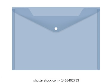 Clear plastic envelope folder with snap button isolated on white background, vector illustration. Transparent file holder, realistic mockup.