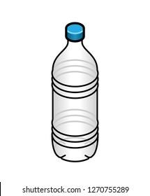 A clear plastic PET water bottle with a blue twist cap.
