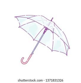 Clear plastic rain umbrellas