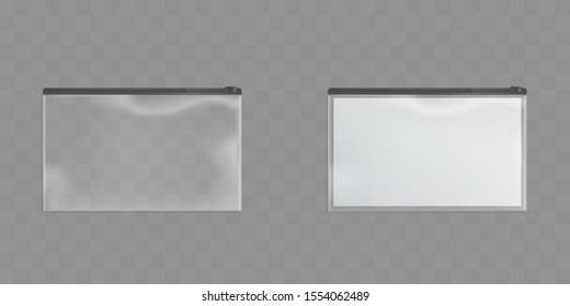 Clear plastic zipper bags isolated on transparent background. Vector set of translucent pockets sealed by black ziplock. Empty packet and package with blank paper. Realistic 3d mockup