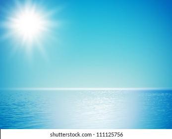 clear sea horizon over blue sky with sun shine