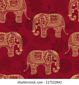Clear seamless texture with stylized patterned elephants in Indian style. Vector endless background