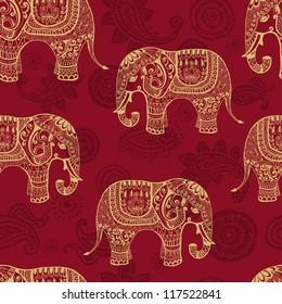 清晰的无缝纹理与印度风格的程式化图案大象。 矢量无尽背景