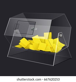 clear see through acrylic raffle turning drum with yellow paper tickets isolated vector illustration with transparent glass for dark background