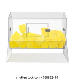 clear see through acrylic raffle turning drum with yellow paper tickets isolated on white background. vector illustration with transparent glass for light backgrounds