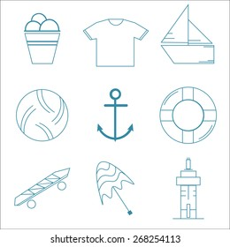 Clear and simple summer icon set, light blue pattern on white