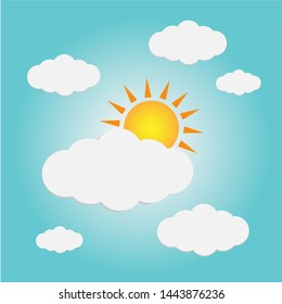 Clear sky in the daytime, full of clouds and sunlight  icon-vector