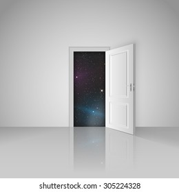 Clear white room with opened door to the beautiful universe vector stock eps 10 illustration