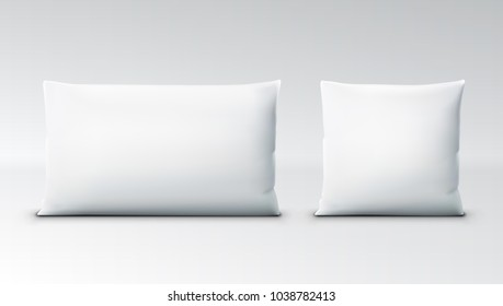 Clear White Square Pillow With Shadow. EPS10 Vector