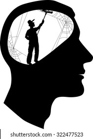 Clear your mind. Male profile with a silhouette of a person, cleaning cobweb inside the brain, vector illustration, EPS 8, no white objects