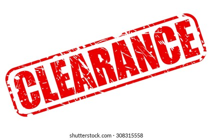 Clearance red stamp text on white