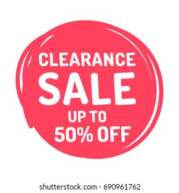 Clearance sale up to 50% off. Badge, icon. Vector illustration on white background. Business concept for discount, outlet.