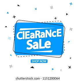 Clearance Sale banner design template, discount tag, vector illustration