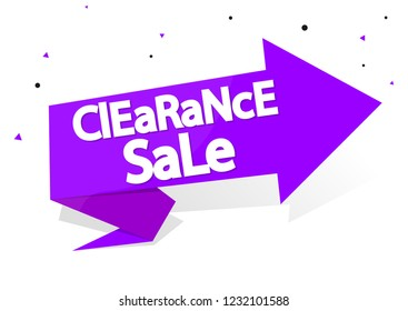 Clearance Sale, banner design template, discount speech tag, vector illustration