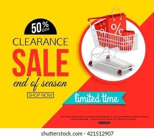 Clearance Sale Banner for shop, online store. Vector illustration.