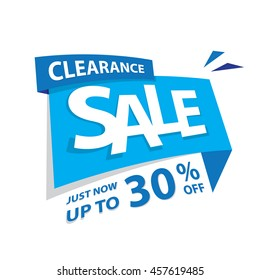 Clearance Sale blue tag 30 percent heading design for banner or poster. Sale and Discounts Concept. Vector illustration.