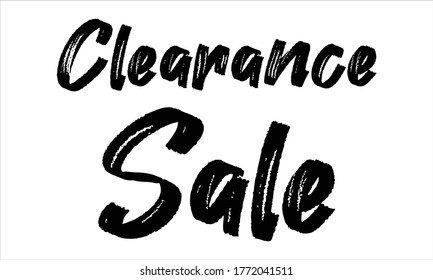 clearance sale Brush Hand drawn writing Typographic Text on White Background