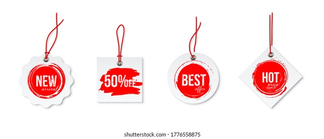 Clearance Sale different tags with strings set isolated on white background. Red discount voblers bundle. Best offer and hot price, 50 percent sell off, new arrival. Vector realistic badges design