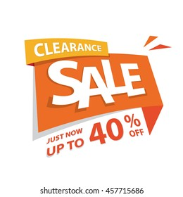 Clearance Sale orange tag 40 percent off heading design for banner or poster. Sale and Discounts Concept. Vector illustration.