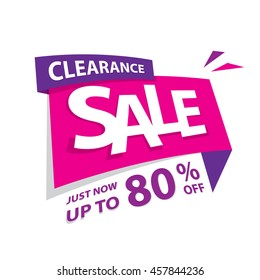 Clearance Sale pink purple 80 percent off heading design for banner or poster. Sale and Discounts Concept. Vector illustration.