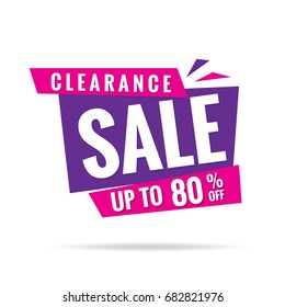 Clearance Sale pink purple 80 percent heading design for banner or poster. Sale and Discounts Concept. Vector illustration.