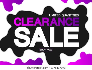 Clearance Sale, poster design template, limited quantities, vector illustration