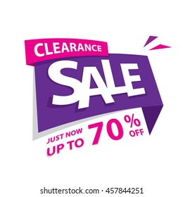 Clearance Sale purple pink 70 off percent heading design for banner or poster. Sale and Discounts Concept. Vector illustration.