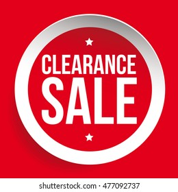 Clearance Sale red vector label or tag