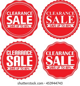 Clearance sale save up to 80%r red label set, vector illustration