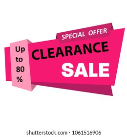 Clearance Sale, special offer banner, up to 80%. Vector illustration.Business concept.