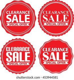 Clearance sale special offer red label set, vector illustration