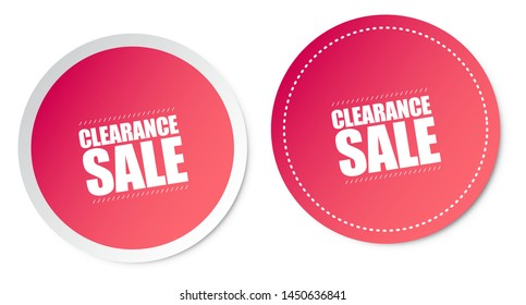 Clearance Sale Stickers Isolated On White Background
