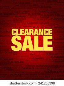 Clearance sale text on red gradient background.