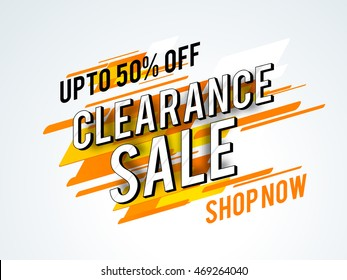 Clearance Sale with Upto 50% Off, Creative abstract typographic background, Can be used as Poster, Banner or Flyer design.