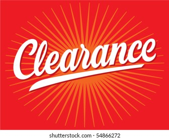 Clearance Sign Vector Lettering
