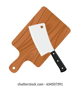 Cleaver, butcher's sharp knife for chopping meat with cutting board. Made in cartoon flat style.