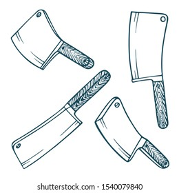 Cleaver. Vintage cleavers hand drawn vector illustrations set. Realistic sketch drawing cleavers collection. Part of set.