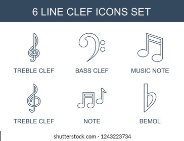 clef icons. Set of 6 line clef icons included treble clef, bass, music note, note, bemol on . Editable clef icons for web, mobile and infographics.