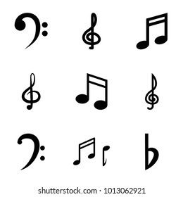 Clef icons. set of 9 editable filled clef icons such as music note, bemol