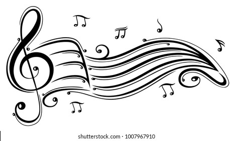 Clef with music sheet and music notes.